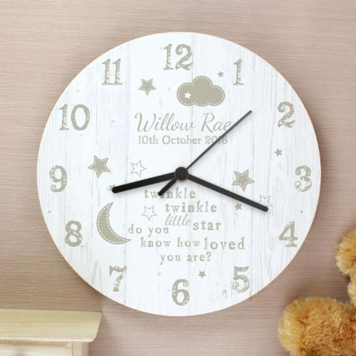 Personalised Twinkle Twinkle Shabby Chic Wooden Clock